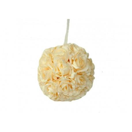 Bola de rosas artificial beige.