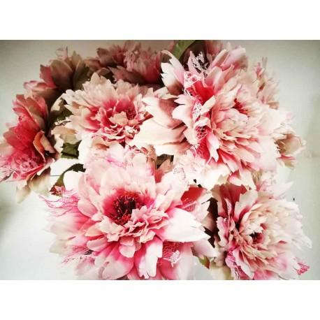 Rama de Dalia fucsia colección organza. Flor artificial.